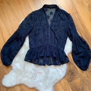 Romeo + Juliet Couture Blue Star Blouse Sz Small